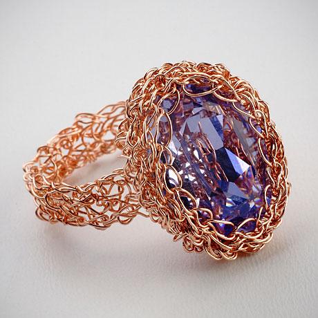 טבעת סרוגה מגלדפילד עם קריסטל סוורובסקי
