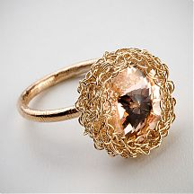 טבעת סרוגה מגולדפילד עם קריסטל סוורובסקי